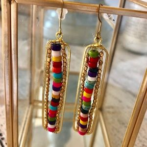 Jewelry - Colorful, gold beaded earrings